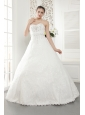 New A-line / Princess Sweetheart Floor-length Lace Beading Wedding Dress