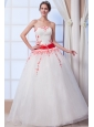 New Arrival A-line Strapless Floor-length Organza Appliques Wedding Dress