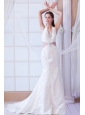 Perfect A-line Halter Watteau Train Lace Beading Wedding Dress
