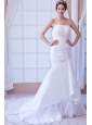 Popular Mermaid Strapless Court Train Taffeta Appliques Wedding Dress