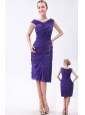 Purple Column V-neck Prom Dress Chiffon Beading Knee-length
