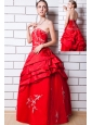 Red A-line Strapless Prom Dress Taffeta Appliques Floor-length