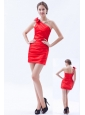 Red Column / Sheath One Shoulder Prom Dress Satin Bow Mini-length