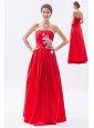 Red Column / Sheath Strapless Prom Dress Taffeta Appliques Floor-length