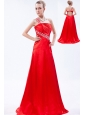 Red Column One Shoulder Prom Dress Taffeta Beading and Ruch Brush Train