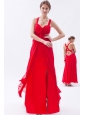 Red Empire Straps Prom Dress Chiffon Sequins Ankle-length