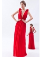 Red Empire V-neck Prom Dress Chiffon Beading Floor-length