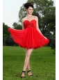 Red Princess Sweetheart Prom / Homecoming Dress Beading Mini-length Oragnza