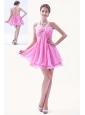 Rose Pink A-line / Princess Beading Prom Dress One Shoulder Mini-length Organza