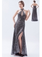 Silver Column / Sheath High-neck Prom Dress Sequin Brush Train