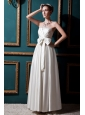 Sweet Column Strapless Floor-length Elastic Wove Satin Beading and Bows Wedding Dress