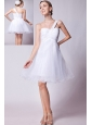 White A-line One Shoulder Prom Dress Organza Beading  Mini-length