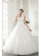 Wonderful A-line / Princess High-neck Floor-length Tulle Beading Wedding Dress