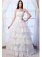 Wonderful A-line Strapless Floor-length Organza Beading Wedding Dress