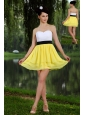Yellow and White Empire Sweetheart Prom / Homecoming Dress Chiffon Sash Mini-length