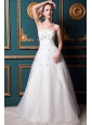 Beautiful A-line Strapless Floor-length Tulle and Taffeta Beading Wedding Dress
