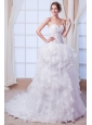 Beautiful A-line Sweetheart Court Train Organza Beading Wedding Dress
