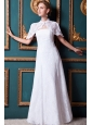 Beauty Column Strapless Floor-length Lace Wedding Dress