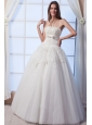 Best A-line Strapless Floor-lengthTulle Beading and Hand Made Flowers Wedding Dress