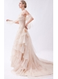 Champagne Column Halter Court Train Organza  Appliques Wedding Dress