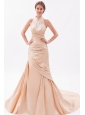 Champagne Mermaid High-neck Court Train Taffeta Embroidery with Beading Prom Dress