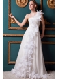 Elegant A-line One Shoulder Brush Train Chiffon Ruffles Wedding Dress