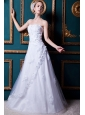Formal A-line Strapless Floor-length Tulle and Taffeta Appliques Wedding Dress