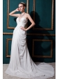 Low Price Column Sweetheart Court Train Chiffon  Ruch Wedding Dress