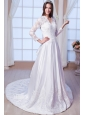 Luxurious A-line V-neck Chapel Train Satin Lace and Appliques Wedding Dress