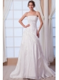 Modest A-line Strapless Court Train Taffeta Appliques Wedding Dress