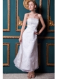 Modest Column Strapless Ankle-length Organza and Taffeta Appliques Wedding Dress