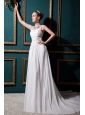 Modest Empire Straps Court Train Chiffon Lace Wedding Dress