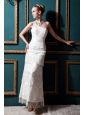 New Arrival Column Strapless Tea-length Special Fabric Beading and Lace Wedding Dress