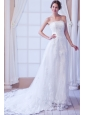 Perfect Column Strapless Court Train Lace Sashes Wedding Dress