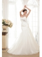 Perfect Mermaid / Trumpet Sweetheart Chapel Train Organza Sequins Wedding Dress