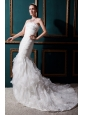 Popular Mermaid Strapless Court Train Organza  Ruch Wedding Dress
