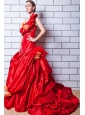 Red A-line One Shoulder Court Train Taffeta Appliques and Hand Made Flowers Wedding Dress