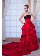 Red A-line Strapless Chapel Train Taffeta Beading and Lace Wedding Dress
