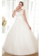 Simple A-line V-neck Floor-length Tulle and Taffeta Appliques Wedding Dress