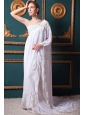White Empire One Shoulder Brush Train Chiffon Appliques Wedding Dress