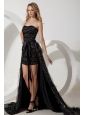 Black Column Sweetheart Celebrity Dress High-low Special Fabric Sashes