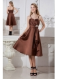 Brown A-line Spaghetti Straps Celebrity Dress Satin and Organza Beading Tea-length