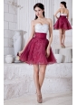 Burgundy A-line Sweetheart Cocktail Dres Organza Beading Mini-length
