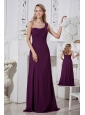 Dark Purple Column One Shoulder Bridesmaid Dress Brush Train Chiffon