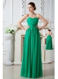 Green Empire Sweetheart Ruch Bridesmaid Dress Floor-length Chiffon