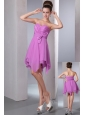 Lavender Empire Sweetheart Cocktail Dress Asymmetrical Chiffon Bow