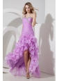 Lavender High-low One Shoulder Celebrity Dress Beading  Column / Sheath Organza
