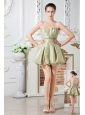 Olive Green A-line Sweetheart Cocktail Dres Ruch Mini-length Taffeta