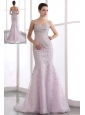 Light Pink Mermaid Evening Dress Straps Beading Brush Train Organza