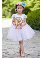 White and Pink Ball Gown Flower Girl Dress Scoop Knee-length Taffeta and Tulle